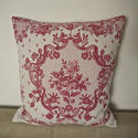 Early 20th century French pretty red floral linen cushion - picture 1