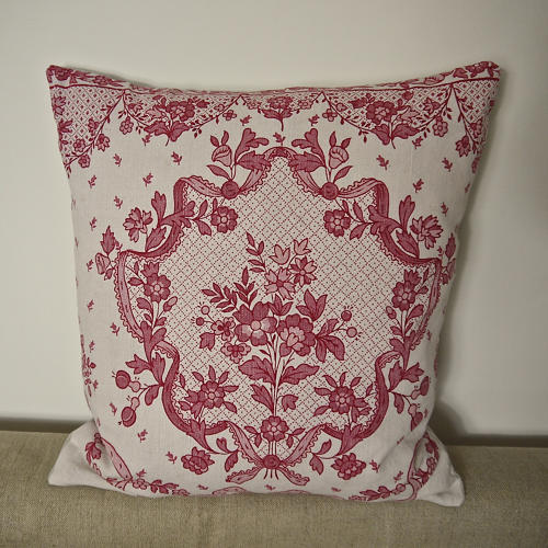 Early 20th century French pretty red floral linen cushion