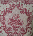 Early 20th century French pretty red floral linen cushion - picture 2