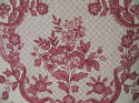 Early 20th century French pretty red floral linen cushion - picture 3