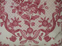 Early 20th century French pretty red floral linen cushion - picture 4