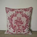 Early 20th century French pretty red floral linen cushion - picture 5
