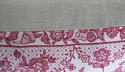 Early 20th century French pretty red floral linen cushion - picture 6