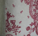 Early 20th century French pretty red floral linen cushion - picture 7