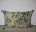 Mid-20th century blue floral on bronze silk cushion - picture 1
