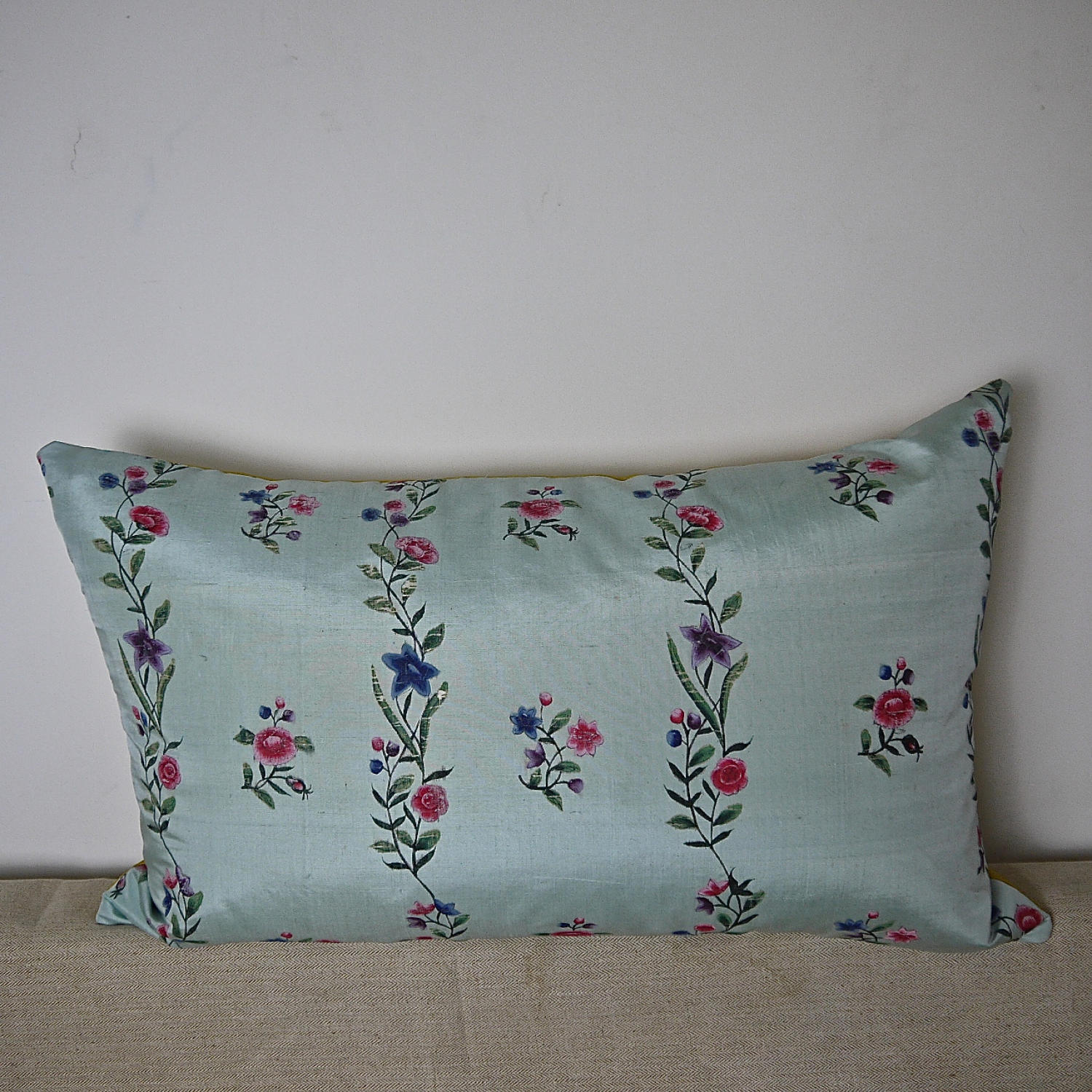 18th century Chinese hand-painted flowers cushion