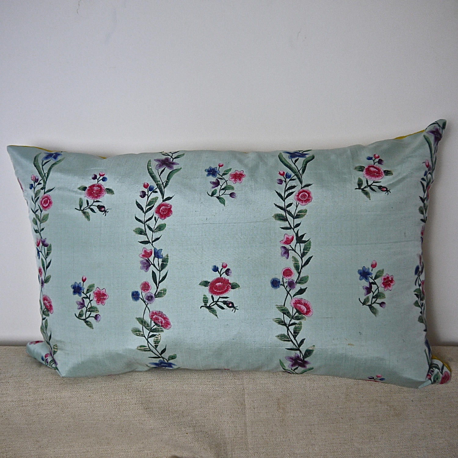 18th century Chinese hand-painted flowers silk cushion