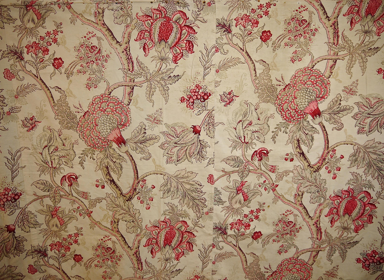 Late 19th century French faded indienne cotton panel
