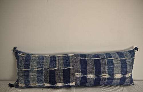 Early 19th century French indigo flamme/ikat cushion