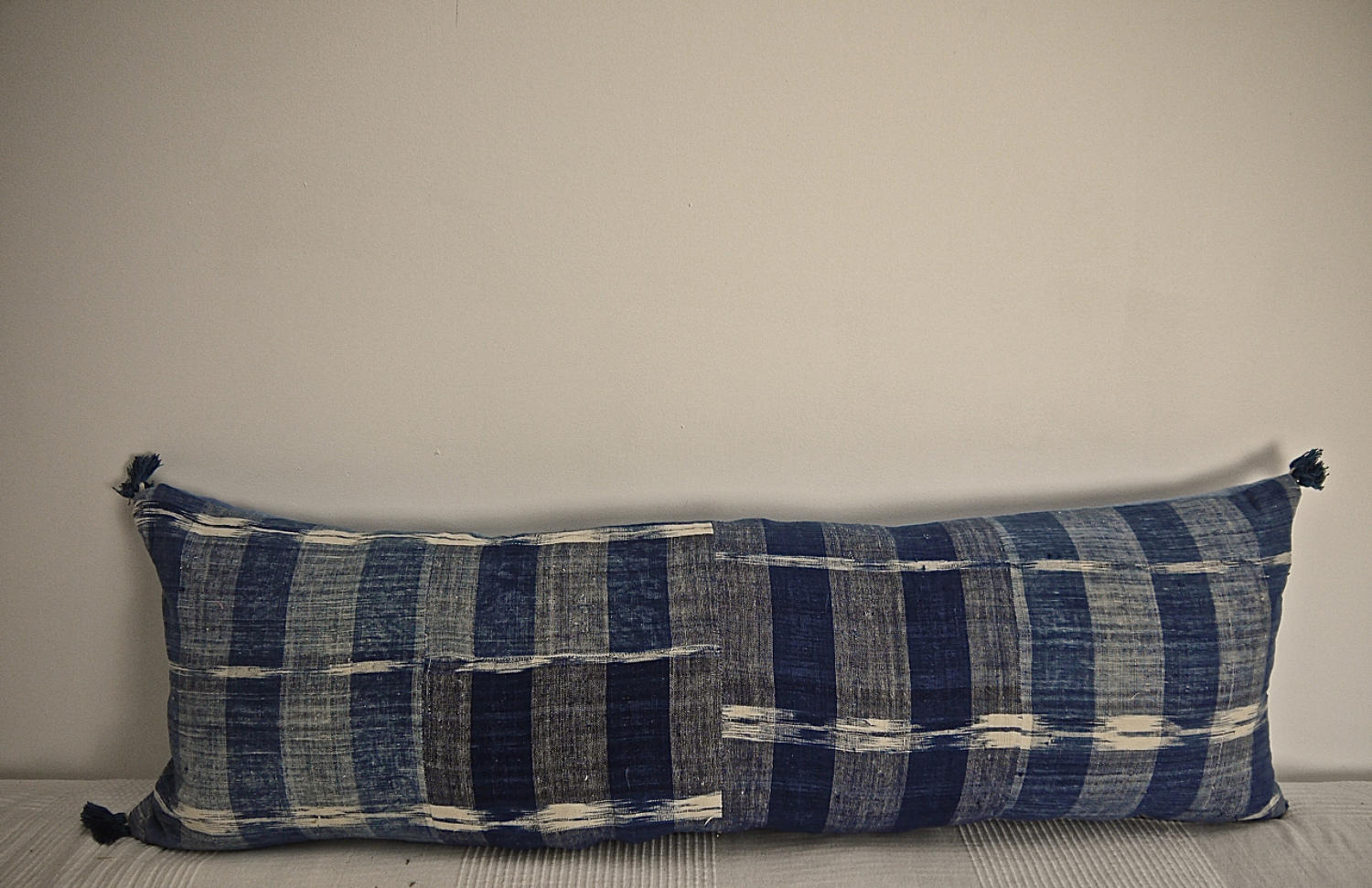 Early 19th century French indigo flamme/ikat cushion