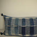 Early 19th century French indigo flamme/ikat cushion - picture 2