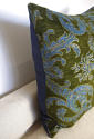 C.1950s French green velvet classical design cushion - picture 3