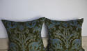 C.1950s French green velvet classical design cushion - picture 5