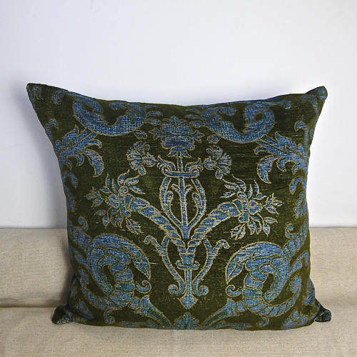 C.1950s French green velvet classical design cushion