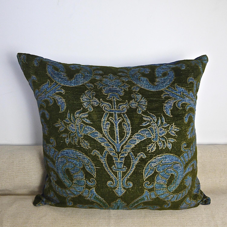 C.1950s French green velvet classical design cushion