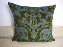 C.1950s French green velvet classical design cushion - picture 2