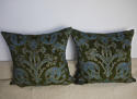 C.1950s French green velvet classical design cushion - picture 7