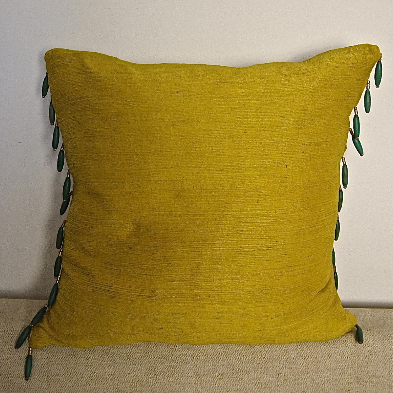 Early 19th century French saffron bourette silk cushion
