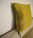 Early 19th century French saffron bourette silk cushion - picture 5