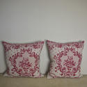 Pair of early 20thc French red and pink linen cushions - picture 2