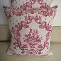 Pair of early 20thc French red and pink linen cushions - picture 3