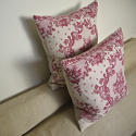 Pair of early 20thc French red and pink linen cushions - picture 5