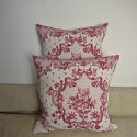 Pair of early 20thc French red and pink linen cushions - picture 6