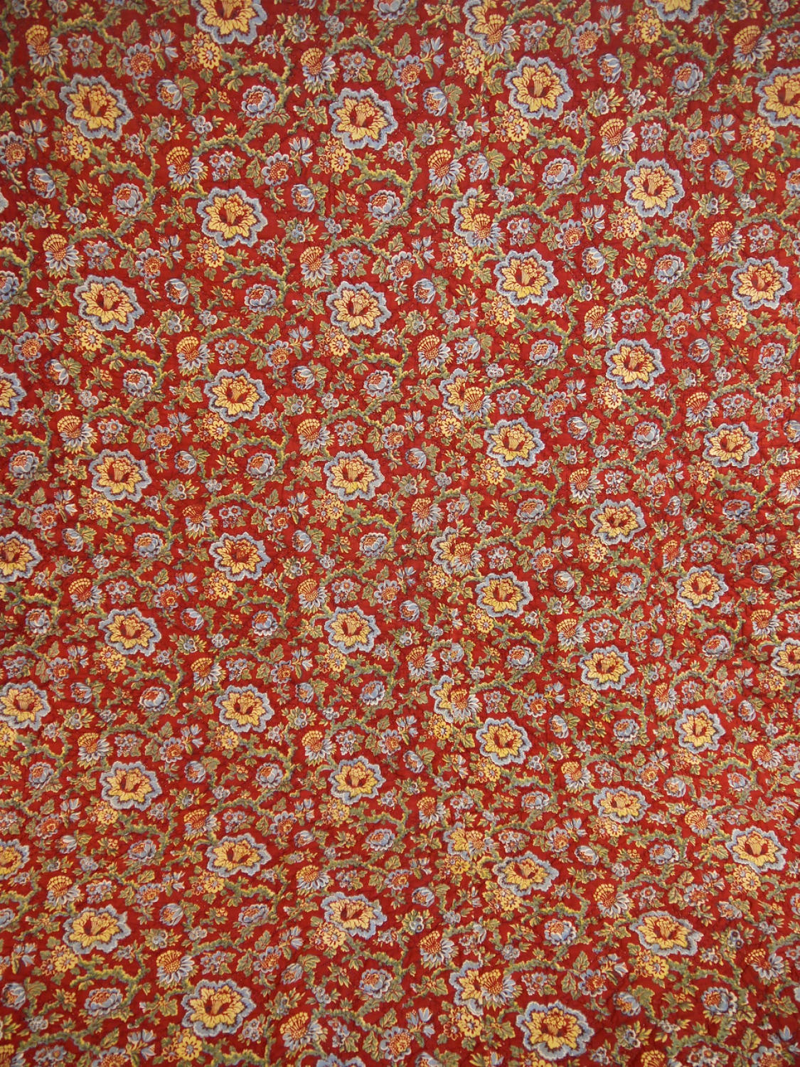 Circa 1800 French madder red and pastel large quilt