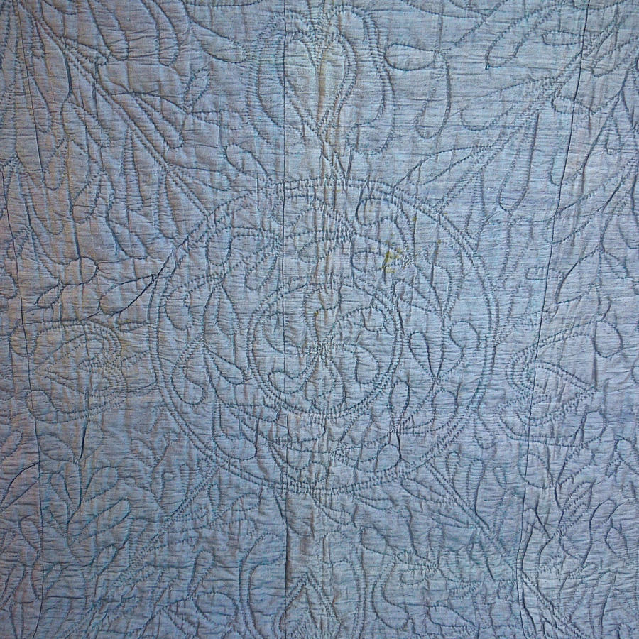 Early 19th century French blue bourette silk quilt