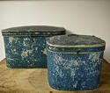 Pair of French 19th century blue hatboxes - picture 2