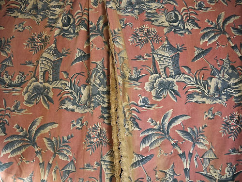 Pair of early 20th century large-scale Chinoiserie curtains