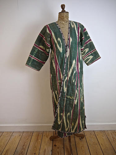 Late 19th century Uzbek silk ikat chapan robe
