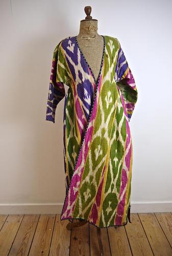Late 19th century Uzbek silk ikat chapan robe
