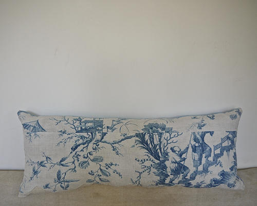 18th century French Chinoiserie toile cushion