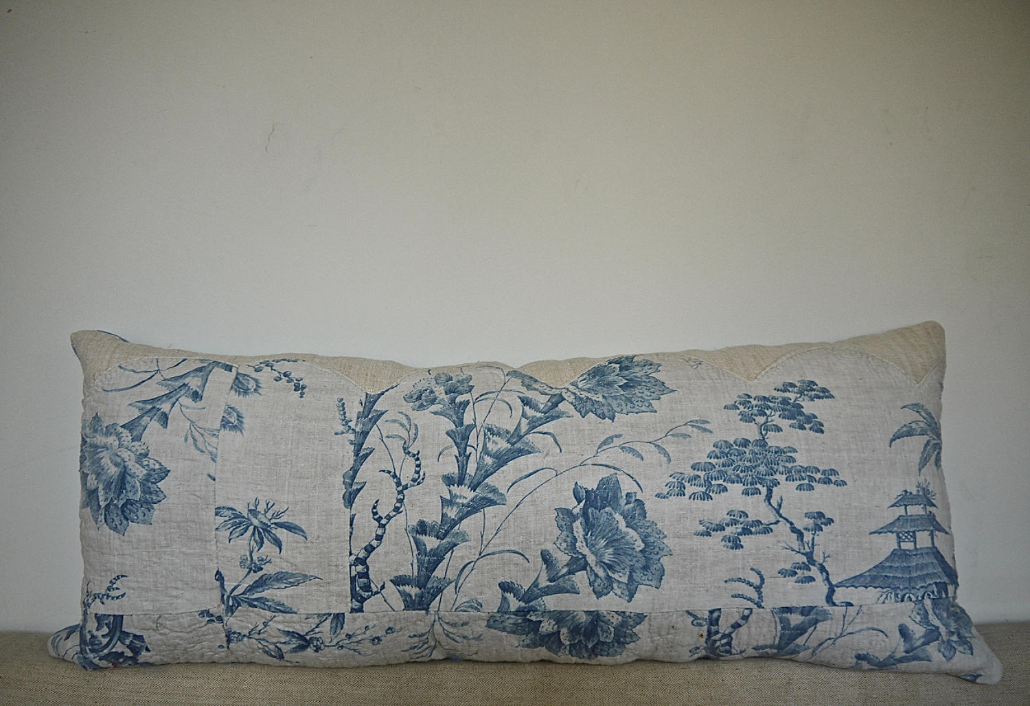 18th century French Chinoiserie blue toile cushion