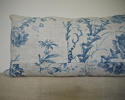 18th century French Chinoiserie blue toile cushion - picture 2