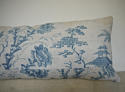 18th century French Chinoiserie blue toile cushion - picture 4