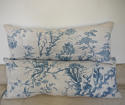 18th century French Chinoiserie blue toile cushion - picture 9