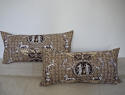 Pair of 1980s Brunschwig & Fils brown toile cushions - picture 1