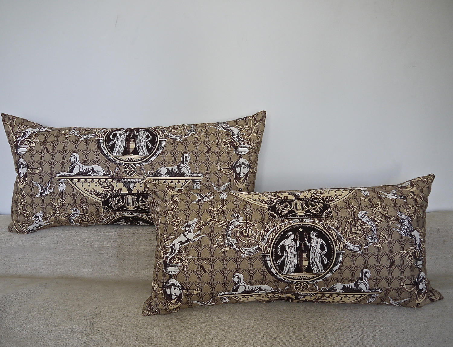 Pair of 1980s Brunschwig & Fils brown toile cushions