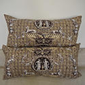 Pair of 1980s Brunschwig & Fils brown toile cushions - picture 5