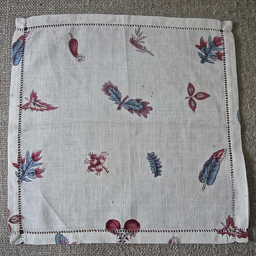 18th century French blockprinted  cotton mouchoir