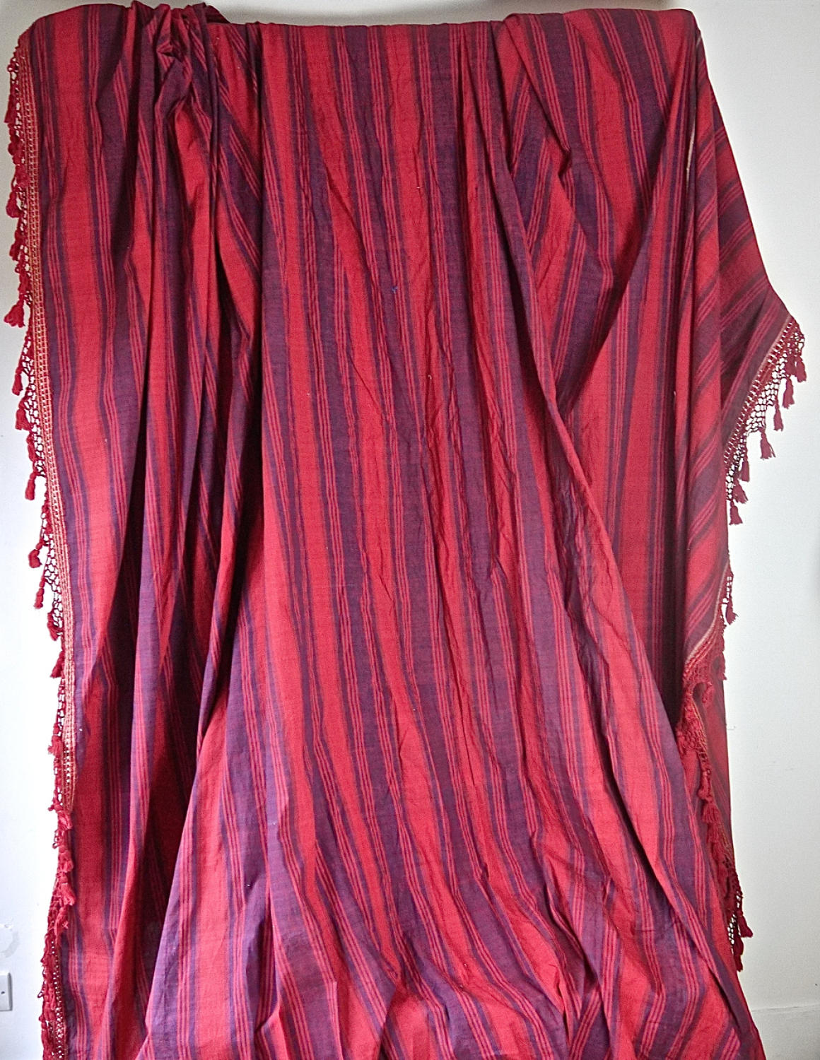 Late 18th century French indigo and red striped curtain
