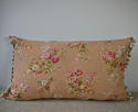Early 20th century French pretty red floral cotton cushion - picture 1