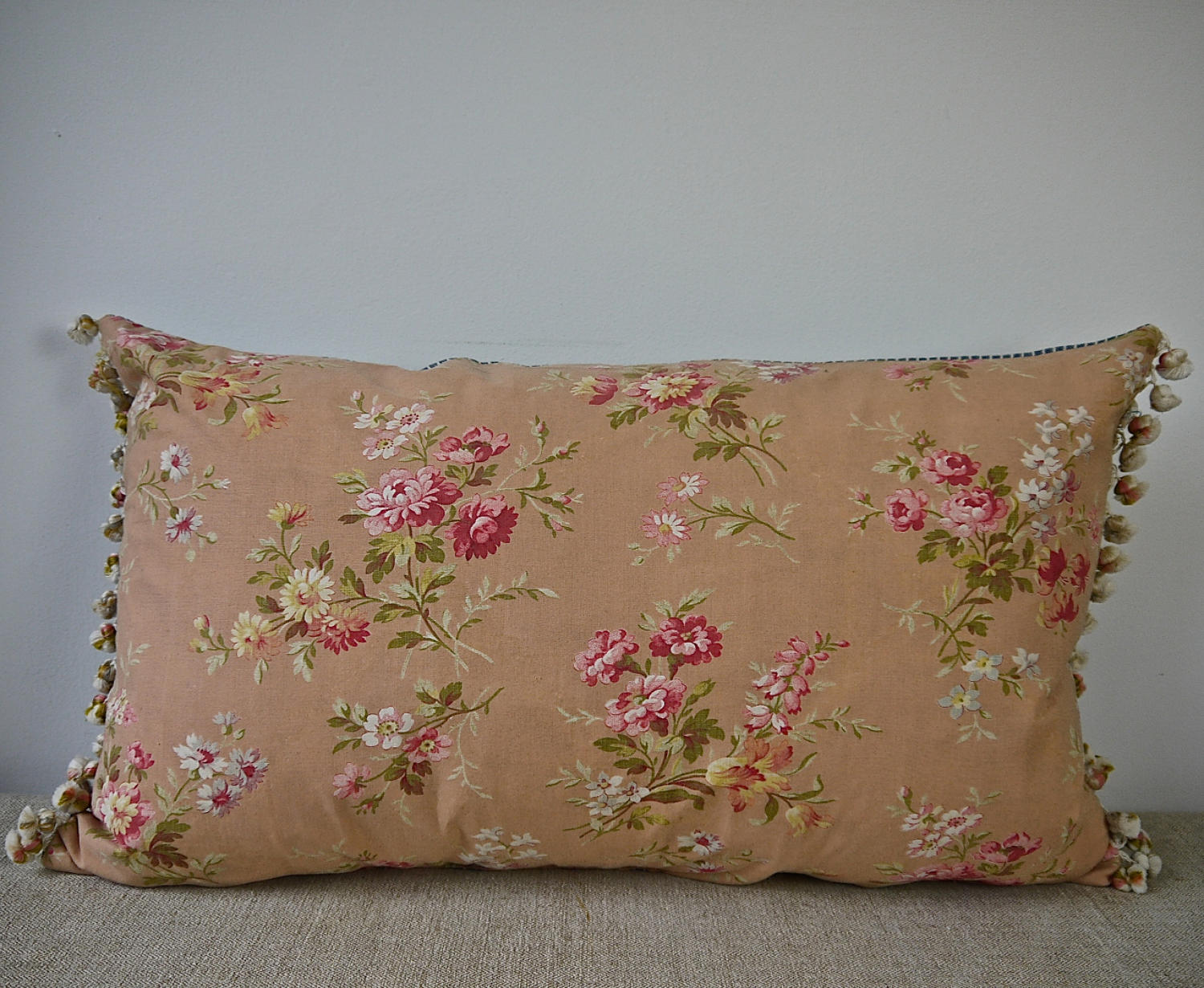 Early 20th century French pretty red floral cotton cushion
