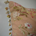 Early 20th century French pretty red floral cotton cushion - picture 4