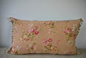 Early 20th century French pretty red floral cotton cushion - picture 6