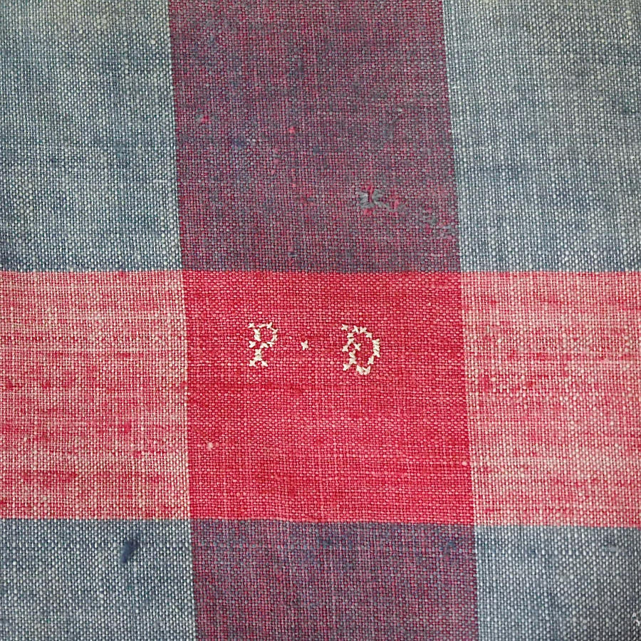 19th century French Faded Indigo and Red Mouchoir