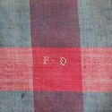 19th century French Faded Indigo and Red Mouchoir - picture 4