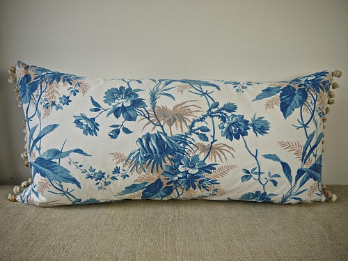 19th century French blue fern leaves cushion